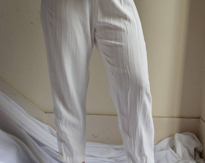 White Pinstriped Lounge Pant with High Waist.