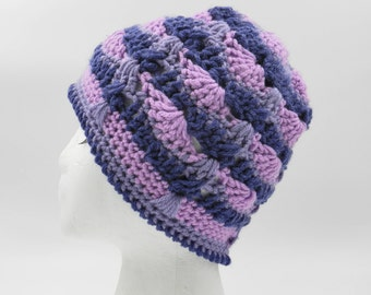 Women's hand made purple crochet beanie, women's crochet flower beanie,women's hand made hat,women's hand made beanie,women cap,women beanie