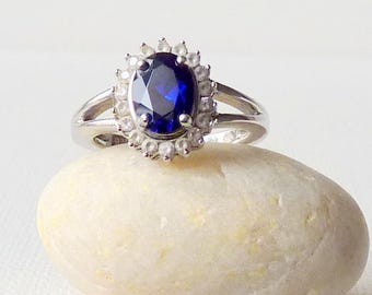 Sapphire Cubic Zirconia Sterling Silver Ring size 6, Cobalt Blue Synthetic Sapphire Ring Size 6 Dainty Ring,Girls Ring, September Birthstone