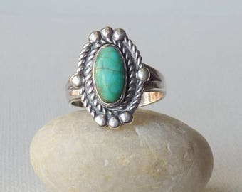 Vintage Sterling Silver Turquoise Ring, Green Genuine Turquoise, Southwestern Turquoise Ring Size 6 Turquoise 925 Ring, Turquoise Jewelry