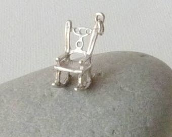 Antique Sterling Silver Rocking Chair Charm Vintage Sterling Silver Chair Pendant, Minimalist Silver Chair, Small Sterling Chair Jewelry