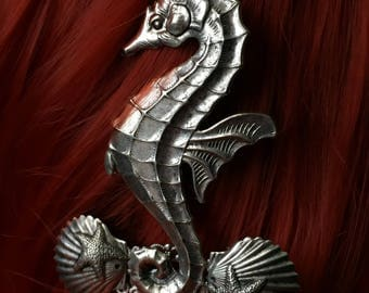 Seahorse Gift-For-Her Mermaid Bridal Hair Comb - Hair Slide Comb Nautical Hair Combs for Weddings - Silver Mermaid Hair Accessories for Her