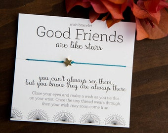 Good Friends Are Like Stars Wish Bracelet, Gift for Friend, Present Topper, Gifts under 10, Creative Friendship Bracelet, Bulk Gifts, Stars