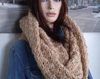 Hooded Shawl Scarf, Mohair Shawl Soft Camel Tan Oversized Hoodie Cowl Stretchy Capelet Wide Hooded Scarf for Her, Versatile Winter Cowl