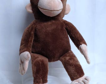 Curious George Vintage Monkey Stuffed Toy Large Cuddly Monkey Story Book Take Along Toy Margret Rey H.A. Rey Character Man with Yellow Hat