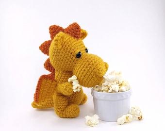 PATTERN: Popcorn the Dragon - Crochet dragon pattern - amigurumi dragon pattern - crocheted dragon pattern - PDF crochet pattern