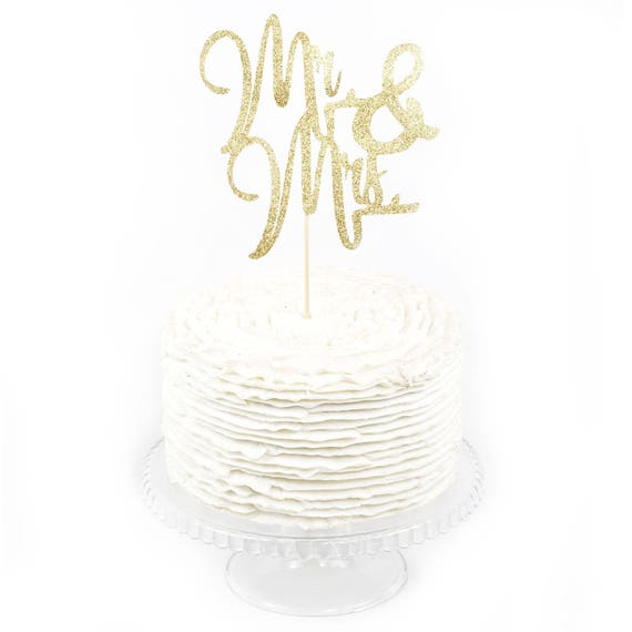Mr & Mrs Gold Glitter Cake Toppers, Toothpick Cake Topper, Gold Cake, Gold Glitter Wedding Cake Topper, Bridal Cake Topper Bachelorette