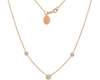 Tousi Jewelers Diamond Necklace Solitaire Pendant - Solid 14k Rose Gold - 0.20 ct White Stone – Free Disc Engraving- April Birthstone Gift