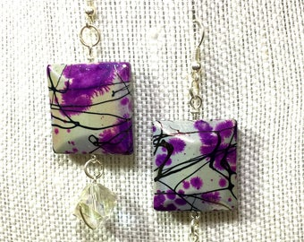 Geometric Purple Black Line Earrings