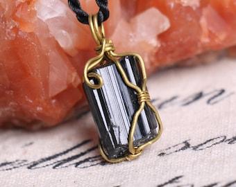 Raw Black Tourmaline Pendant,Healing Crystal Pendant  ,Black Tourmaline pendants ,Black Tourmaline necklace healing J812