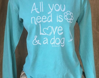 Small Southern prep dog lover inspired Comfort Colors Long Sleeve Shirt
