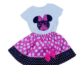 Minnie Birthday Minnie Mouse skirt Minnie Disney shirt Minnie outfit  Minnie birthday Princess Minnie set pink Minnie dress Minnie outfit