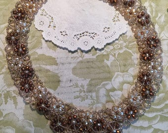 Flowers and Lace Cream Copper Faceted Crystals Champagne Beads Copper Magnet Clasp DarlingArtByValeri Custom Handmade