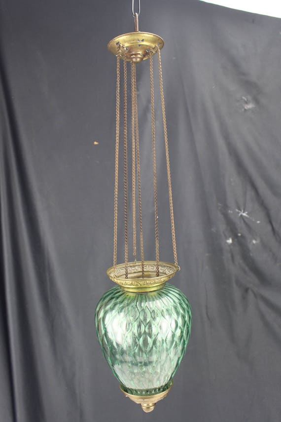 Antique Victorian Green Glass And Brass Hanging Hall Lantern/Candle Pendant Lighting