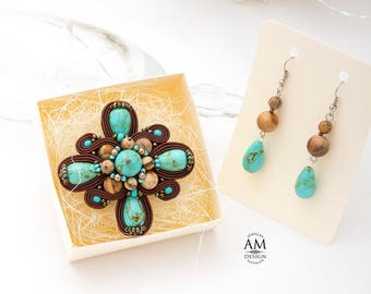 Brooch Set 50th birthday gift for women Turquoise Brooch Pin Beaded Brooch Brown Brooch Soutache Brooch Handmade Brooch Jewelry Gift For Her