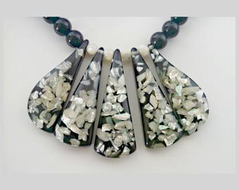Vintage Statement Necklace, Mother of Pearl Inlay Bib Necklace, Black Lucite Beads, Mid Century, Circa 1960s, Includes Gift Box