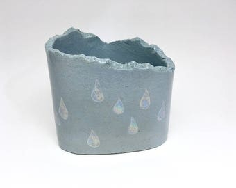 unique ceramic desk organizer made of blue clay with a shimmery drop pattern