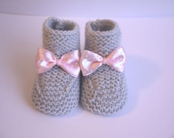 light grey booties baby shoes 0/1 month baby girl pink polka dot knit hand knots