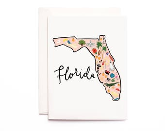 Florida Map Card, Illustrated Florida Greeting Card, Florida Gift