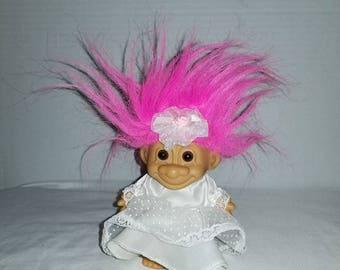 Vintage Bride Troll,Russ Troll,Wedding Troll,Pink Haired Troll,Rubber Troll,Troll Doll,Troll Bride,Wedding Day, Vintage Toys,1980s