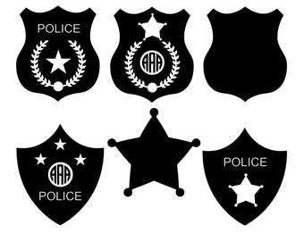 Police Badge SVG, Police SVG, Police Badge Monogram SVG, Sheriff Svg, Police Badge Clipart Vector, Shield Svg, Dxf, Eps, Police Token Svg.