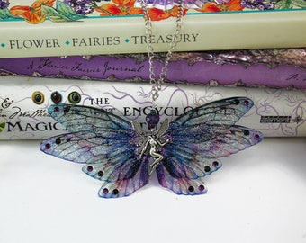 Large Silver Fairy Charm - Gossamer Blue and Purple Fairy/Faerie Butterfly Cicada Wing Statement Necklace