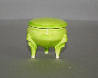 Little Bright Lime Green Round Box with ornate legs made from a 1960's vintage mold