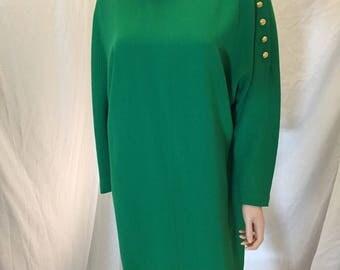 Vintage Linda Allard For Ellen Tracy 100% Pure Wool Dress Green Mock Turtleneck Side Gold Buttons Size 6