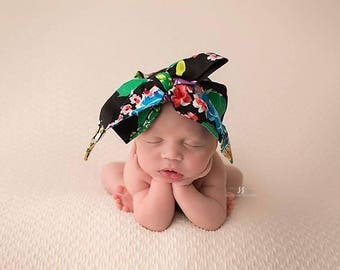 TROPICAL FLORAL Gorgeous Wrap- headwrap; fabric head wrap; floral head wrap; boho; newborn headband; baby headband; toddler headband