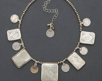 Kitab Amulet Necklace, Prayer Box Pendant, Moroccan Berber Silver, Tribal Silver Coin, Talisman, Statement Necklace
