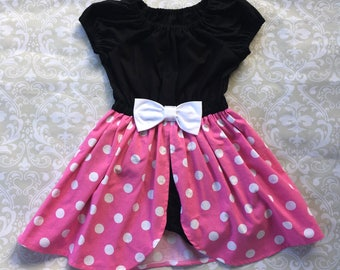 Minnie Mouse Romper Dress Pink | Pink Minnie Mouse | Minnie Mouse Birthday Party | Girls Princess Romper | Disney Vacation