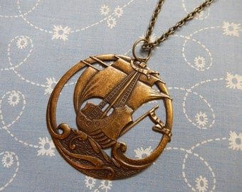 Pirate Ship on the High Seas Pendant Necklace