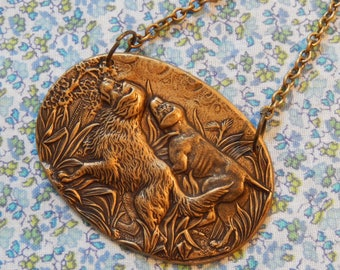 Two Dogs on the Hunt Antique Brass Plate Pendant Necklace