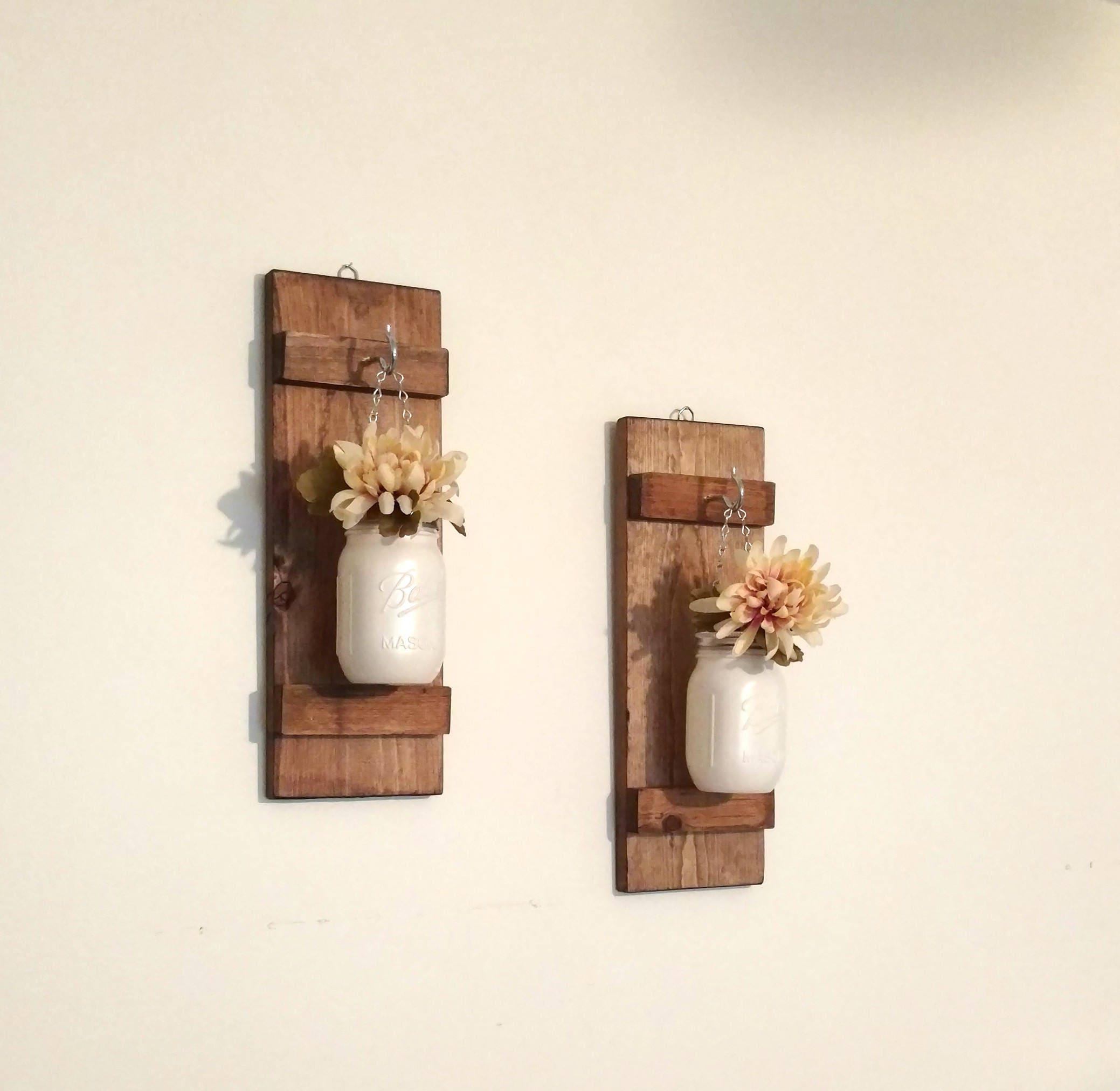 Mason Jar Wall Decorhanging Wall Sconces White Jars Country