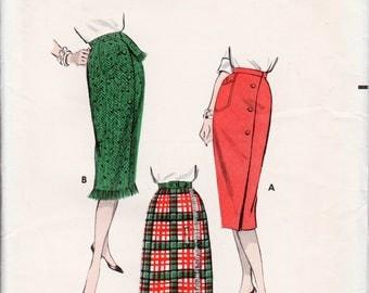 "1950s Skirt Pattern Vintage Wrap Skirt Pattern Wiggle Skirt BUTTERICK 8638 waist 24.5"" Sheath Skirt Pattern One Yard Skirt Vintage Skirt"