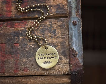 Who Tells Your Story Necklace | Hand-stamped Brass Disc Pendant Alexander Hamilton Broadway Musical