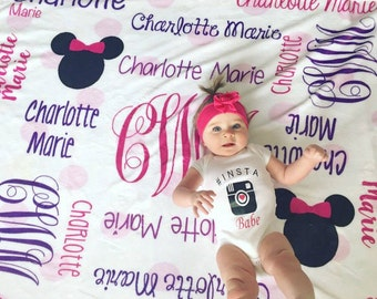 Personalized Minnie Mouse Blanket. Mouse Name Blanket. Monogram Minnie Mouse Blanket. Mickey Mouse Blanket.