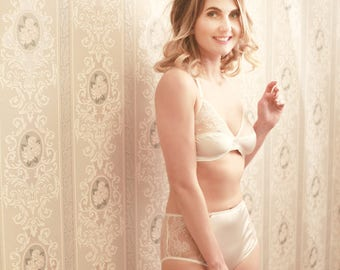 Luxury beautiful  lingerie  handmade in England. Vintage style Chantilly lace and luxury silk ivory colour bra