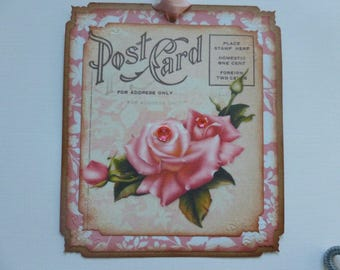 Paris Post card tags, Vintage style, gift tags, pink roses, vintage inspired,,any occasion, rhinestone embellished  - set of 4