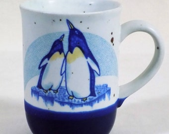 Otagiri Coffee Mug Blue White Stoneware Cup Penguins Front Back 10 Ounces Made in Japan