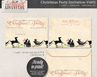 Christmas Party Invite Printable, Instant Download, Digital Collage Sheet, Victorian Carriage, Holiday Card, Xmas Postcard and Envelope