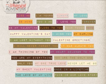 Romantic Messages, Dymo Tape Labels, Word Clip Art, Valentine Quotes And Sayings, Instant Download, Digital Word Stickers For Scrapbooking
