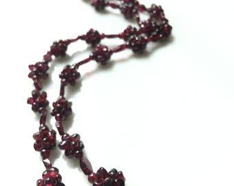 Handmade Floral-like Garnet Necklace