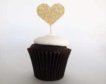 Gold glitter heart cupcake toppers | 1st birthday toppers | Baby shower toppers | Love heart toppers | Wedding cupcake toppers | Set of 12
