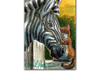 Zebra and Orange Cat NurseryArt New Mom llmartin Original ACEO Watercolor Children