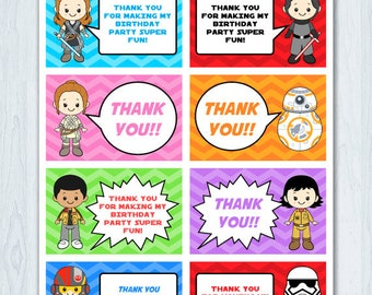 Star Wars Thank You Tag, Star Wars Thank You Card, Star Wars Thank you Label, Star Wars Favor Tag