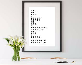 BEN FRANKLIN, ben franklin quote, PRINTABLE, printable art, printable quote, instant download art, 4x6, 5x7, a4, a4 print, a3, a2, a1, 16x20