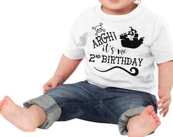 Argh! Its Me 2nd Birthday Pirate 2nd Birthday Kid Child Children Toddler Tee T-Shirt Shirt Second Two Year Old Gift Idea Pirate Ship Clothes
