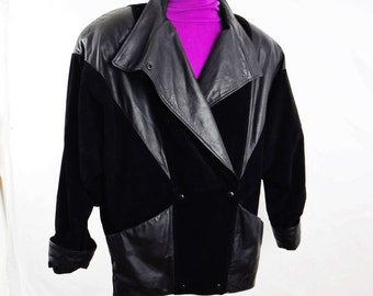 80's Vintage Black Leather & Suede Jacket/Coat/Women's Black Suede Jacket/Batwing Dolman Sleeves/Double Breasted/Shoulder Pads/FREE SHIPPING