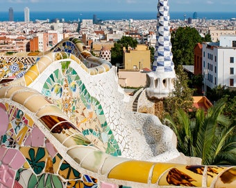 Park Guell, Gaudi, Park, Barcelona, Spain, Architecture, Home Decor, Modern, Fine Art Prints, Wall Art, Barcelona Prints